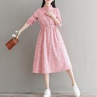 Mori Girl Spring Autumn Women Sweet Dress Stand Collar Cherry Print Pink Femininos Vestidos Full Sleeve Corduroy Elegant Dresses