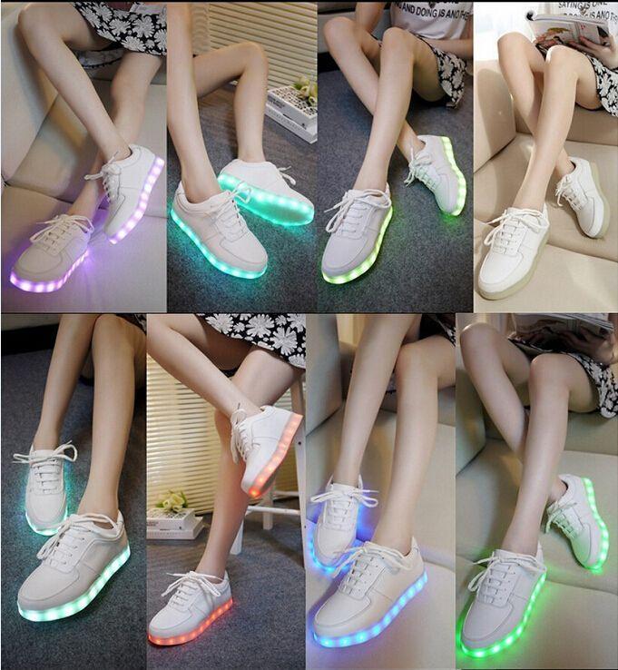 38441749a البالغين متوهجة حزب clun بار الرقص الأحذية 7 ألوان أحذية الرجال النساء حذاء  رياضة usb ضوء led مضيئة هدية