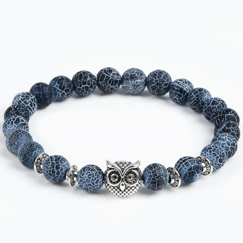 2017 Leopard Tiger Eye Lion Head Bracelet Owl Buddha beads Bs