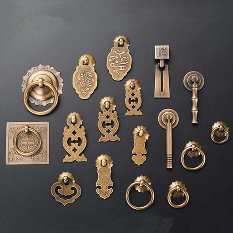 Drawer Handle Chinese Single Hole Pure Copper Vintage Handle Desk Jewelry Box Pulls Handle Wardrobe Knobs For Furniture Hardware
