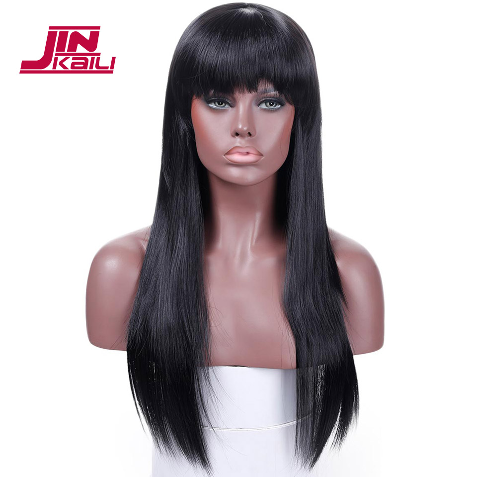 JINKAILI WIG Black Brown Long Straight With Bangs Cosplay Party Heat Resistant synthetic Fashion Wigs For White/Black Women