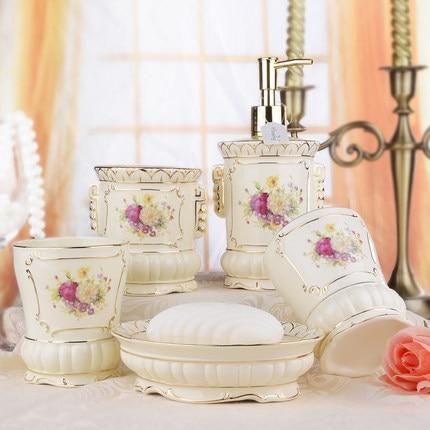 Houmaid accessoires de salle de bain de style européen ensemble en céramique porte-savon porte-dents tasse de brossage - 2