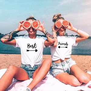 Best Friends T shirt Women T-shirt Summer Short Sleeve Sister Bff T Shirt Women Tshirt Top Black White Cotton Tee Shirt Femme(China)