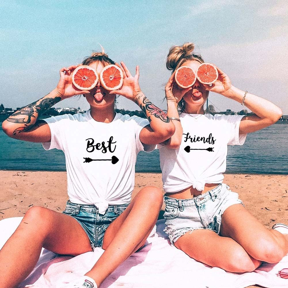 Best Friends   T     shirt   Women   T  -  shirt   Summer Short Sleeve Sister Bff   T     Shirt   Women Tshirt Top Black White Cotton Tee   Shirt   Femme