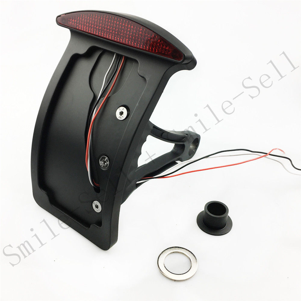 BLACK side mount license plate Curved bracket tail light for HARLEY softail Custom Chopper motorcycle