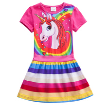 Girls Unicorn Dress 2019 Summer Short Sleeve Cotton Casual Breathable Rainbow Striped SH6219