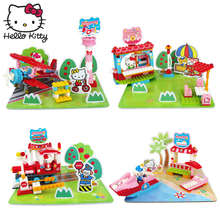 Hello Kitty Petite House Montessori Kid Toy Rainbow Colorful Building Blocks DIY Amusement Park Play Good Friend KT