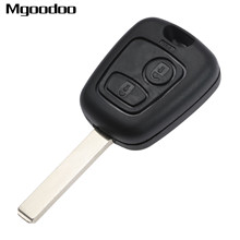 2 Buttons Remote Car Key Keyless Entry Fob With Chip For Peugeot 206 307 Replacement Alarm Uncut Blade Shell