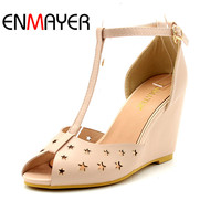 ENMAYER PU Material T Strap Pumps Shoes Woman High Heels Round Toe Wedge Solid Cover Heels