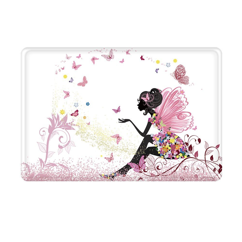 Charmhome Doormat Trendy Pink Flower Fairy Girl With Butterfly Floor