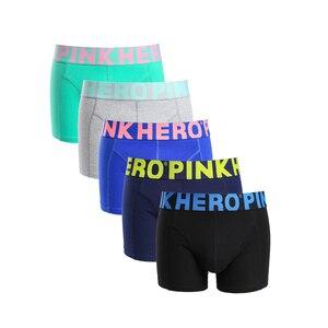 Image 4 - 新 5 ピース/ロットパックピンクヒーローメンズボクサー下着の綿のストライプ Cueca カジュアルファッションベルト幅男高品質ホット