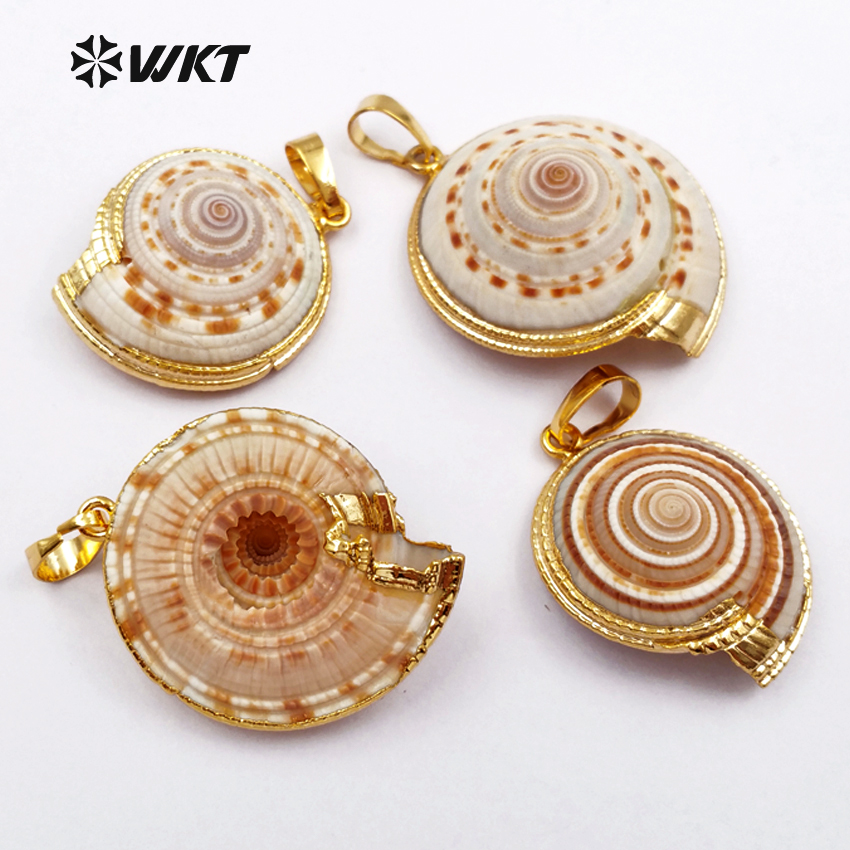 WT JP007 Hot sales wholesales natural Trumpet shell pendants with gold edged