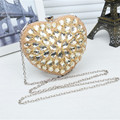Free Shipping Heart Shaped Design Beading Women Party Evening Bag Fashion Beads Pearls Crystal Day Clutch Bag Female Handbag