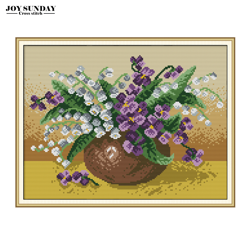 Joy Sunday Lily of The Valley Vase Cross Stitch Thread Patterns Aida Fabric 14ct 11ct Canvas Embroidery DMC Kit  Wall Painting