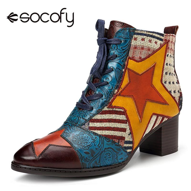 2bddf5441372c4 Zipper lacet Vintage 2018 Boots Bottes Femmes Étoiles Nouveau Cowboy  Western En Patchwork Chaussures Hiver Cuir ...