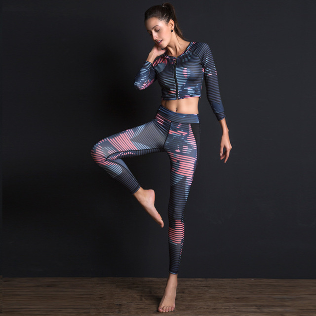 00b51d88b45db Yoga Set for Women Tracksuits Zipper Long Sleeve Sweatshirts Legging Tights  Pants Sports Bra Fitness Gym Running Set