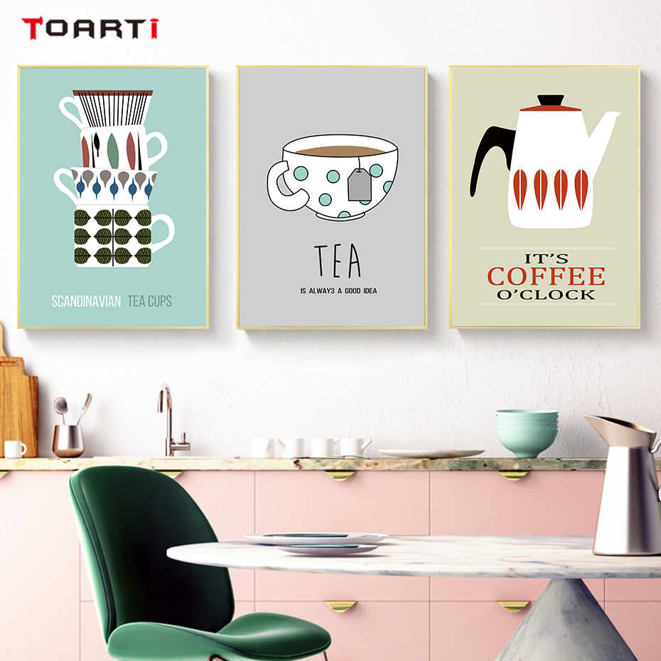 Coffee Tea Cups Posters Prints Nordic Canvas Painting On The Wall For Kitchen Dining Room Home Decor Modern Fashion Art Pictures