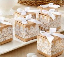 10 pieces Creative Gift box Rustic and Lace Kraft Favor Box With Ribbon Wedding Party Decoration Candy paper