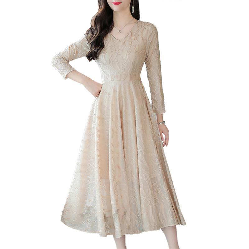 Women 2018 Autumn Winter V Neck Jacquard Long Velvet Dress Female Elegant Pleated Solid Dress Lady Casual Warm A Line Dress V169