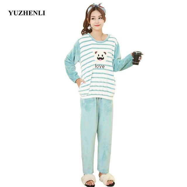 f3eee752bd Thick Warm Flannel Pajamas Sets Winter Women Two Piece Pajama Set Cartoon  Female Sleepwear Home Clothing