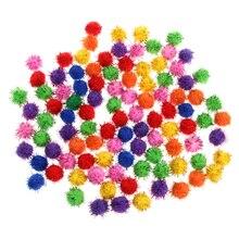 100 шт цветные мини-сверкающие блестки, мишура, шары, маленькие помпоны для кошачьих игрушек W15