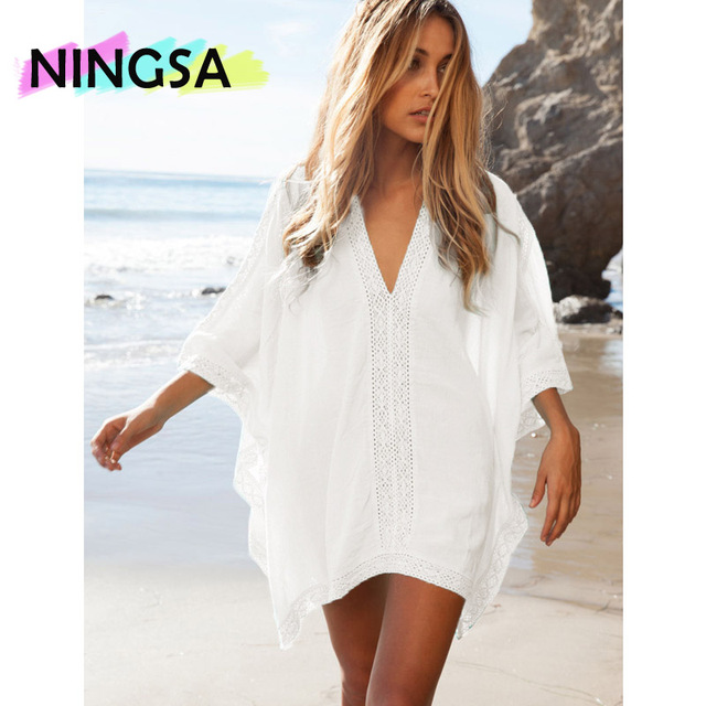 9c95537006 NINGSA 2017 Linen Cotton Deep V Beach Cover-ups Beach Tunic Summer Dress  Sarong Beachwear Bathing Suit Cover-Ups Loose Pareo Bi