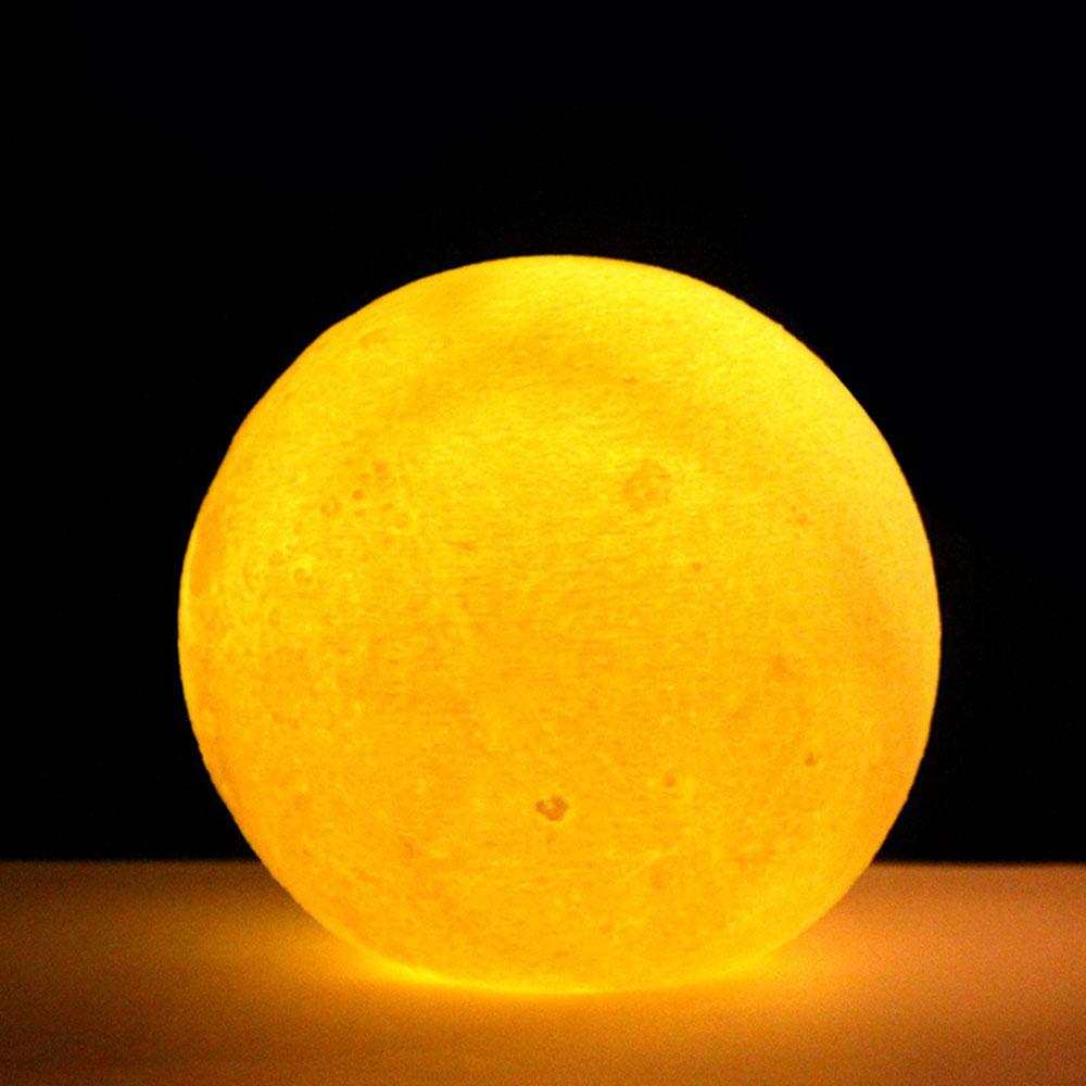 3D принт многоцветный настольная лампа светодиодный луна светильник Ночной светильник луна светильник личность лунный светильник луна светильник домашний декор - Цвет: Yellow