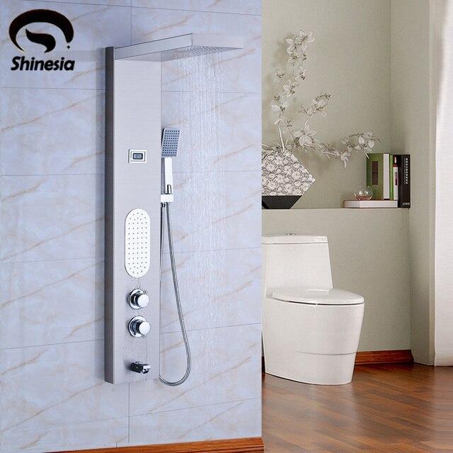 Nichel spazzolato pannello in acciaio inox termostatico doccia a pioggia rubinetto colonna - Bagno termostatico ...