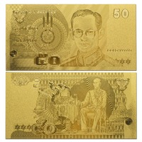 GOLD BANKNOTE Normal 50 *THAILAND* BAHT FOR COLLECTION ,999 Goldfoil note polymer