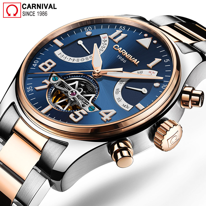Carnival Tourbillon Automatic Watch Men Stainless Steel Mens Mechanical Watches Luminous Wristwatch Male Clock horloges mannen цена и фото