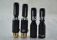 O envio gratuito de 4 peças de 24 K Banhado A Ouro Microfone Pailiccs Pailic Prata Net XLR Masculino Feminino Plug Adapter