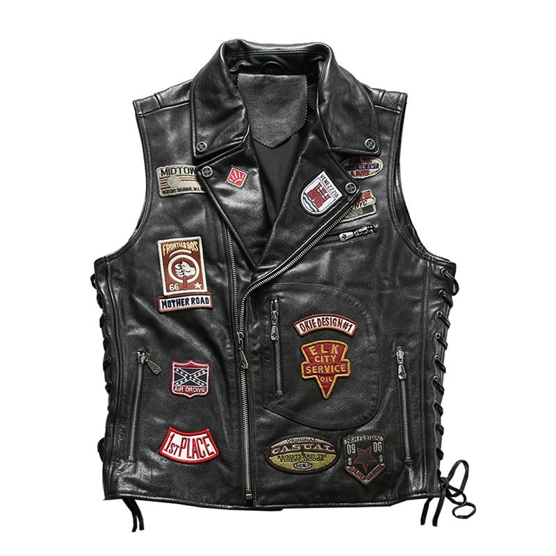 2019 noir hommes Slim Fit moto en cuir gilet grande taille XXXXL véritable peau de vache printemps court motif Biker's gilet livraison gratuite