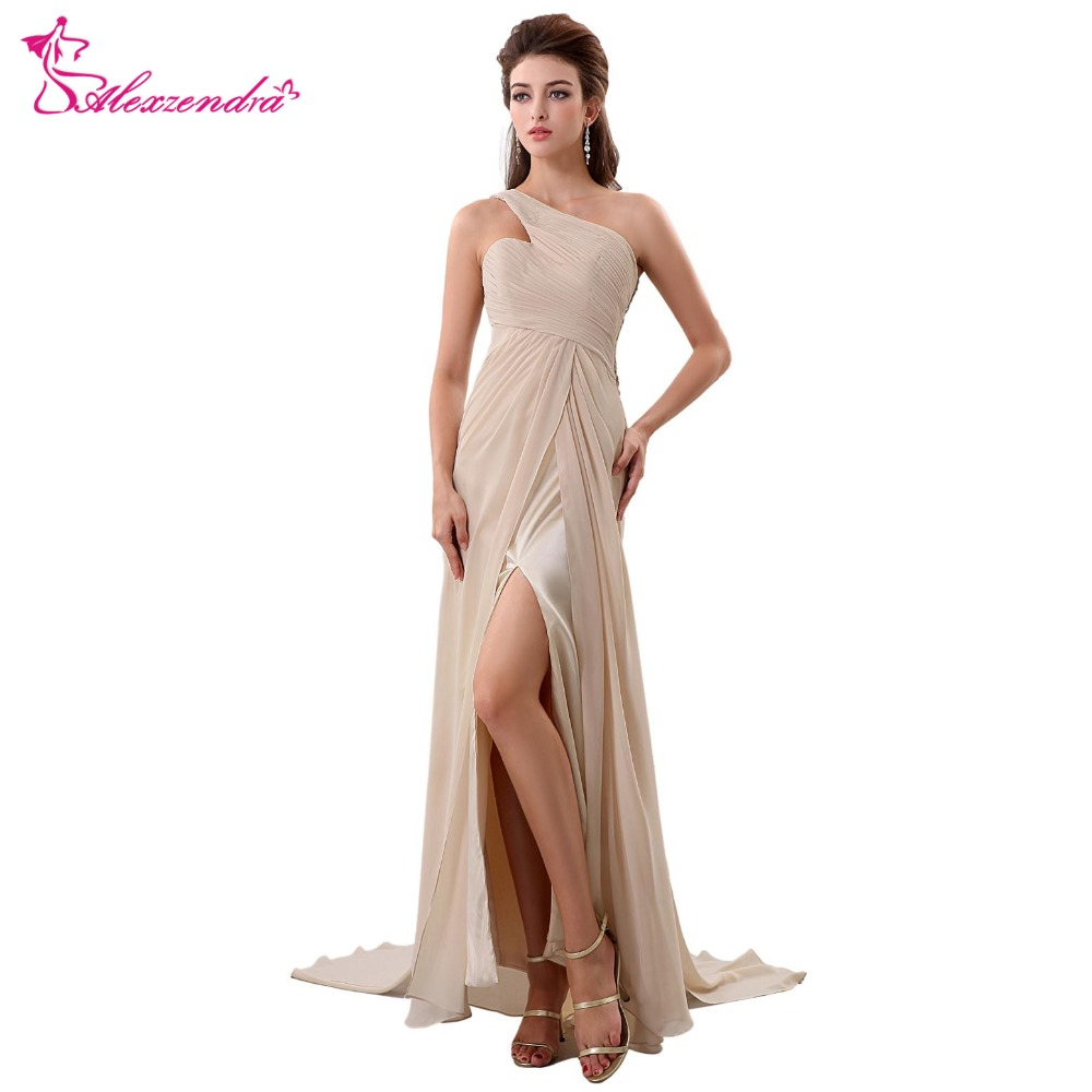 Alexzendra Champagne One Shoulder Chiffon Long   Prom     Dresses   Plus Size Illusion Back Party   Dress   for Girls