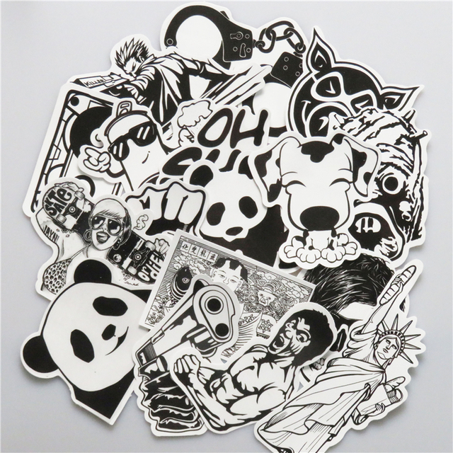 New 100 PCS Black and White Sticker Skateboard Graffiti Decal Toy Laptop Bicycle Motorcyle Car Stying Doodle DIY Cool Stickers