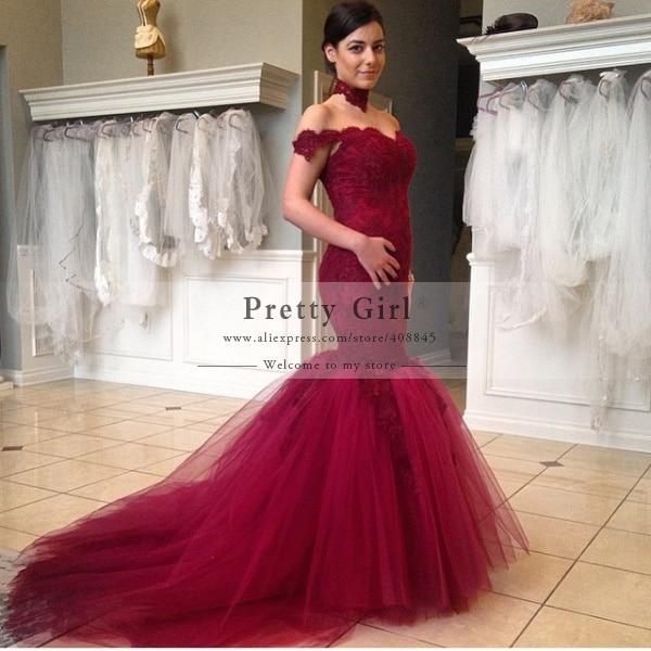 Cheap red lace wedding dress
