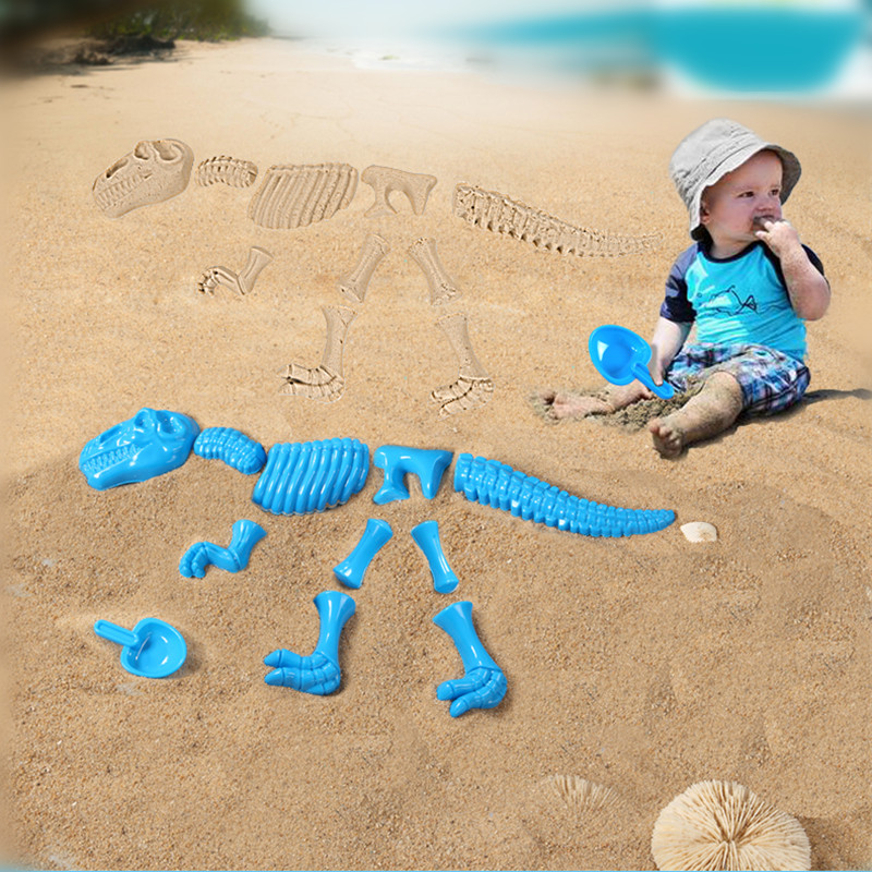 Hot Sale Abs Plastic Baby Sandbeach Funny Sand Mold Set <font><b>Dinosaur</b></font> Skeleton <font><b>Bones</b></font> Beach Toy Kids Summer Toys For Children