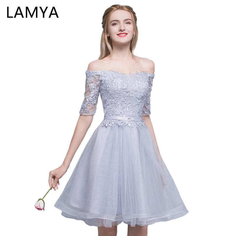 LAMYA Elegant Lace Half Sleeve   Cocktail     Dresses   2018 Cheap Short A Line Evening Party   Dress   Special Occasion Gowns