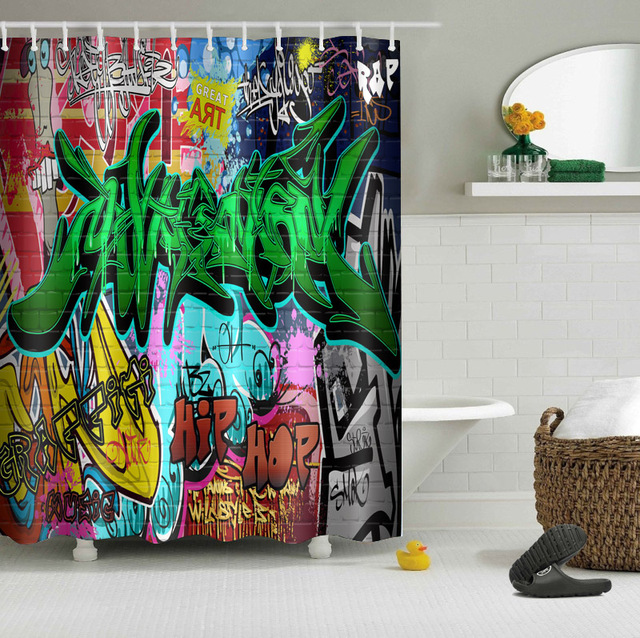 LB 180180cm Cool Hip Hop Graffiti Bath Curtains Shower Curtain Waterproof Polyester Fabric For
