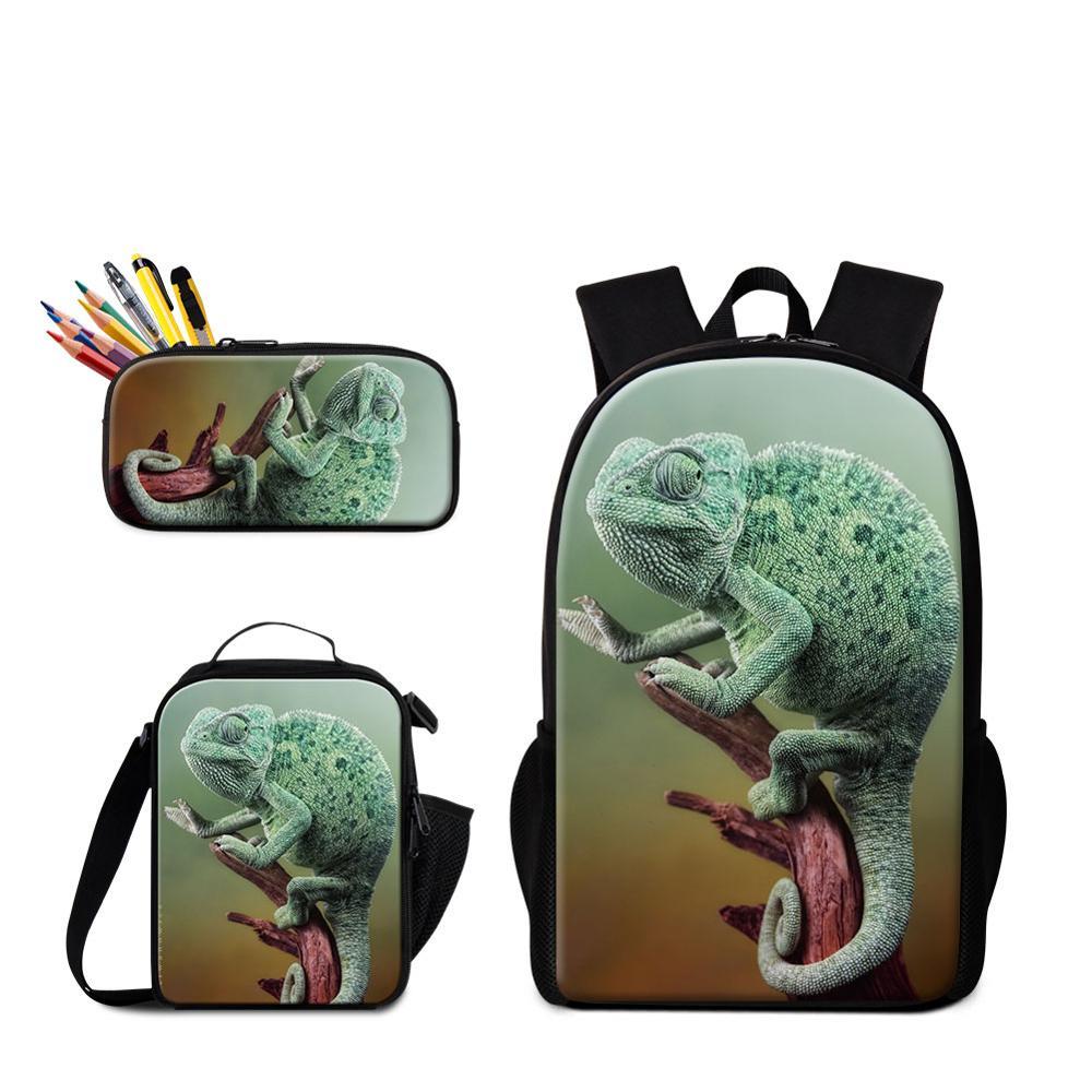 Ensemble 3 pièces en 1 impressions haute définition lézard de bande dessinée sur sac à dos avec pochette à Lunch et étui à crayons sacs cartable de l'étudiant