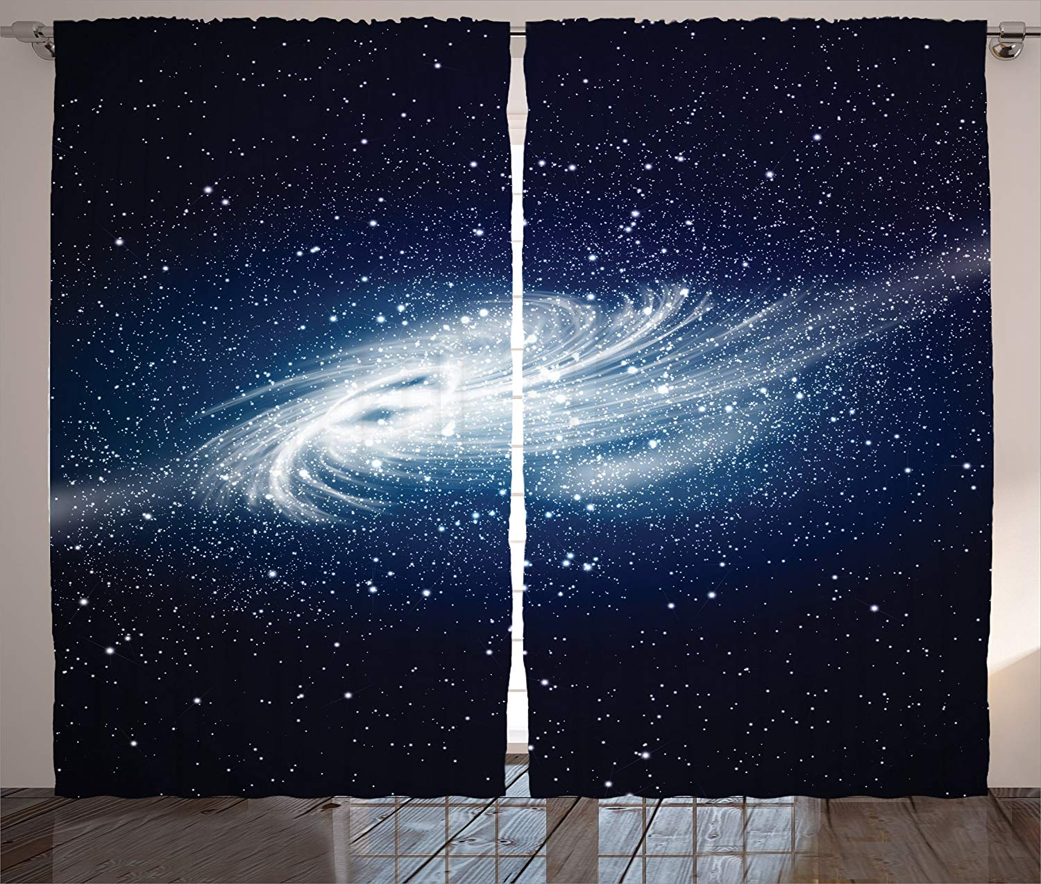 Space Curtains Spiral Galaxy Image Space And Stars Celestial Cosmos Expanse Universe Modern Print Living Room Bedroom Decor