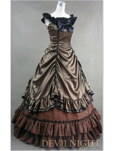 Коричневый без рукавов готическое платье для балла маскарада