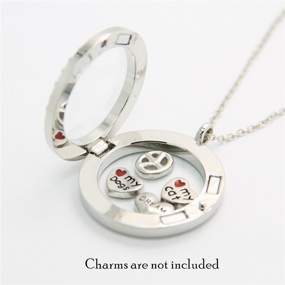 Classic floating charms locket memory living locket medium silver classic floating charms locket memory living locket medium silver rolo chain necklace pendants gift fl001r in pendants from jewelry accessories on mozeypictures Images