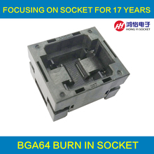 BGA64 OPEN TOP burn in socket pitch 0.5mm IC size 5*5mm BGA64(5*5)-0.5-TP01NT BGA64 VFBGA64 burn in programmer socket цены