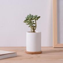 Creative simple cylindrical white succulent flower pot ceramic with bamboo tray desktop small zakka decor pottery bonsai pot
