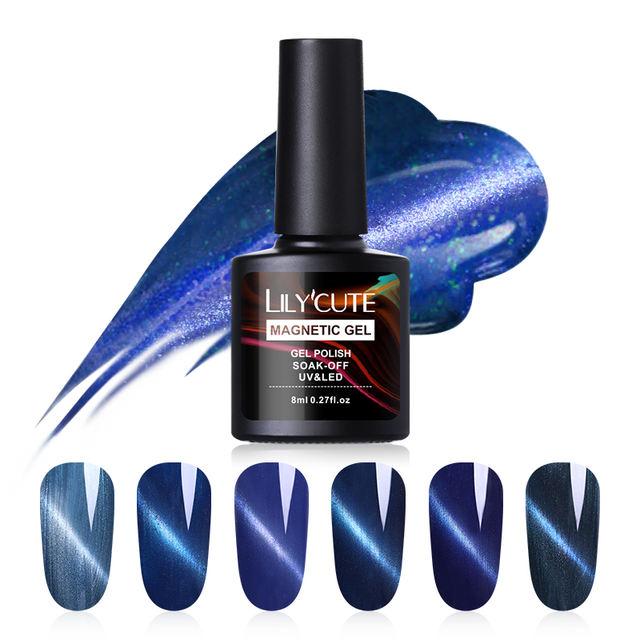 LILYCUTE 8ml Peacock Blue Cat Eye UV Gel