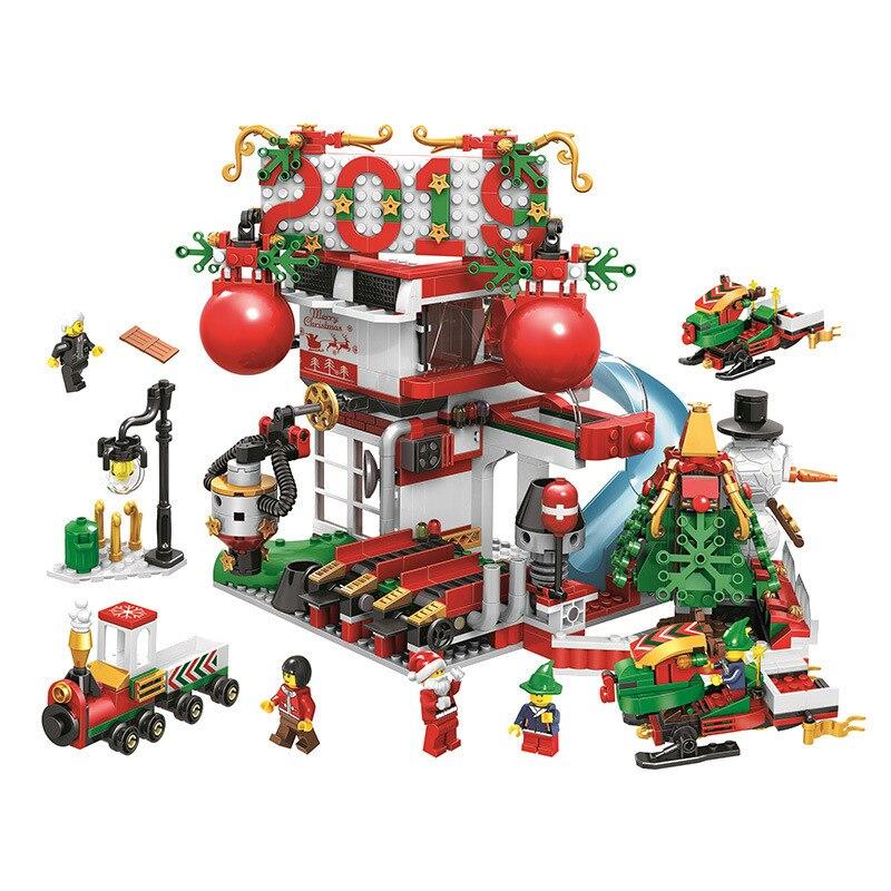 904 pièces Bela bricolage blocs de construction calendrier de l'avent père noël motoneige toboggan parc Compatible avec des jouets pour les enfants