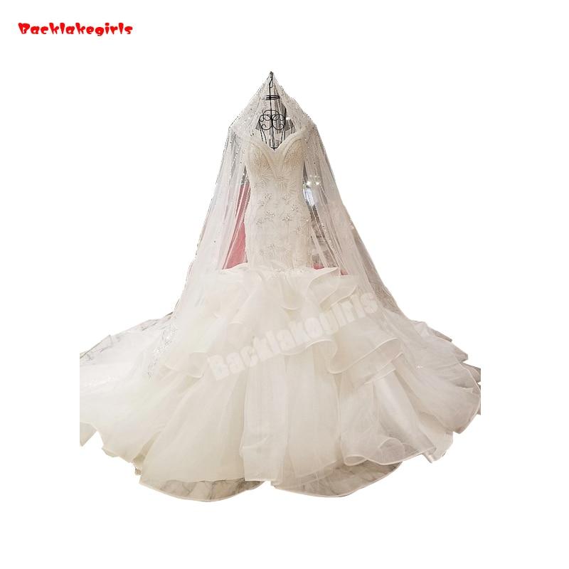 Backlakegirls Elegant White Mermaid Wedding Dress Off Shoulder V-neck Sequined Slim Crystal Pearls 2018 Hot Sale Bridal Gowns