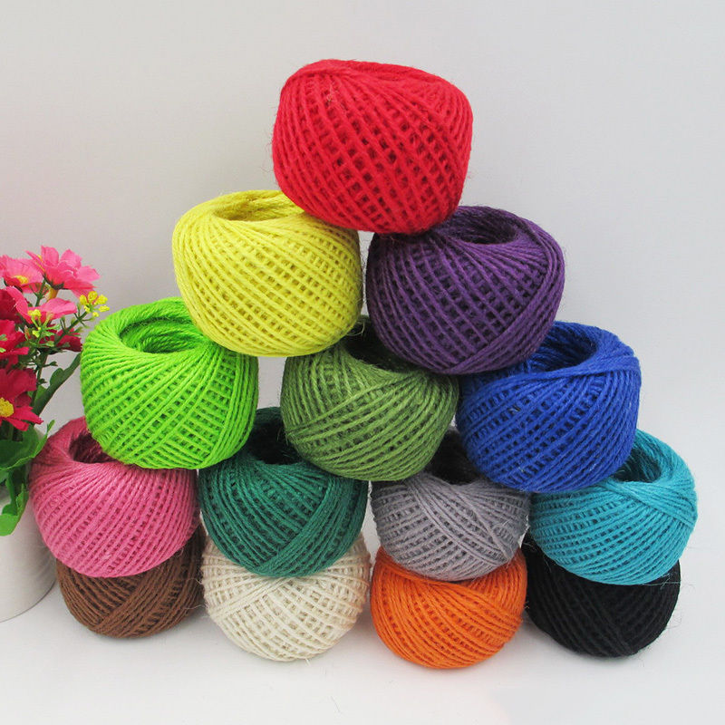 11 color 50m hemp hessian twine string cord gift wrap for Craft with woolen thread