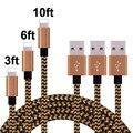 1 m/2 m/3 m 2016 más nuevo de 8 pines de alambre trenzado de sincronización de datos del cargador cable usb para iphone 6 7 6 s más 5 5S ipad air 2 cables de teléfono móvil