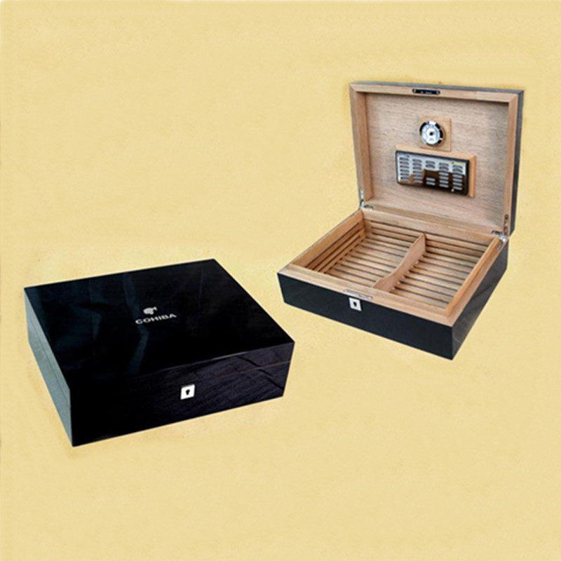 Classic Design High-end Scuro e più Leggero Tenuta di Legno di Cedro Cigar Humidor Storage Box W/Elettronico Igrometro Umidificatore